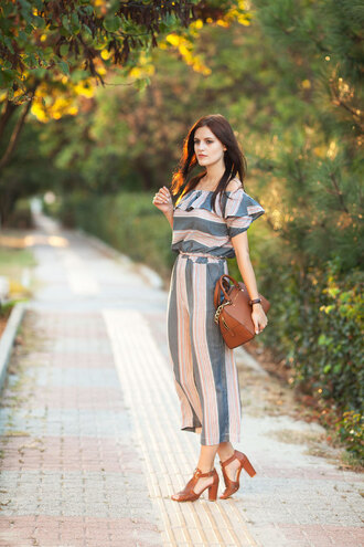 the bow-tie blogger shoes bag off the shoulder jumper jumpsuit stripes thick heel brown bag stacked wood heels