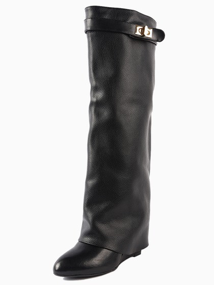 faith leather wedge knee boots in black