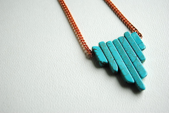 Turquoise arrow shield necklace on vintage copper by sparklefarm