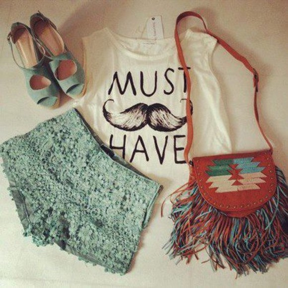 shorts shoes bag tank top blue crochet shorts mustache tank white tank indie style hipster teen indie bag clothes sleeveless high heels flowered shorts blue shorts outfit top shirt must have mustache aztec blue skirt green t-shirt white moustache mint sea-green leather bag summer high heels blouse lace purse leather inka inca muscle tee tank top? purse? shoes? fringe teen wolf