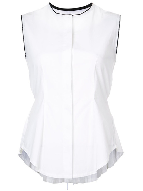 Yigal Azrouel tank top top pleated back women spandex white cotton