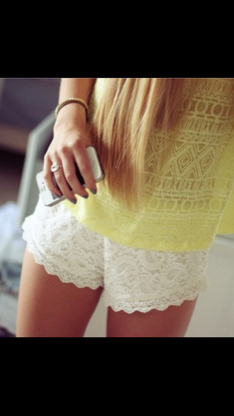 shorts lace shorts shirt yellow girl cool fashion yellow top summer white shorts tank top yellow tank top lace white crochet shorts aztec top yellow t-shirt indiana romper yellow shirt