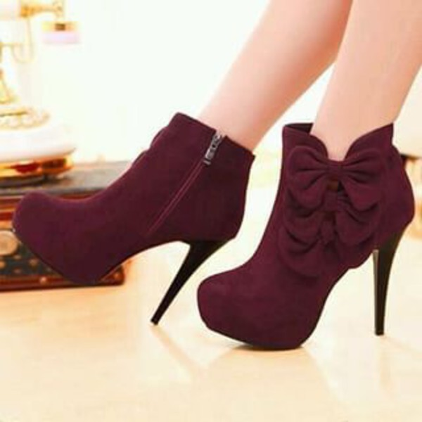 New Style Fashion Women Ankle Boots High Heels sweet bow Boots ...