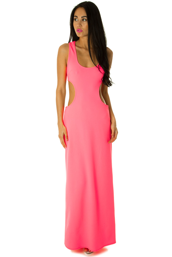 dress maxi neon summer cut-out bodycon sassy