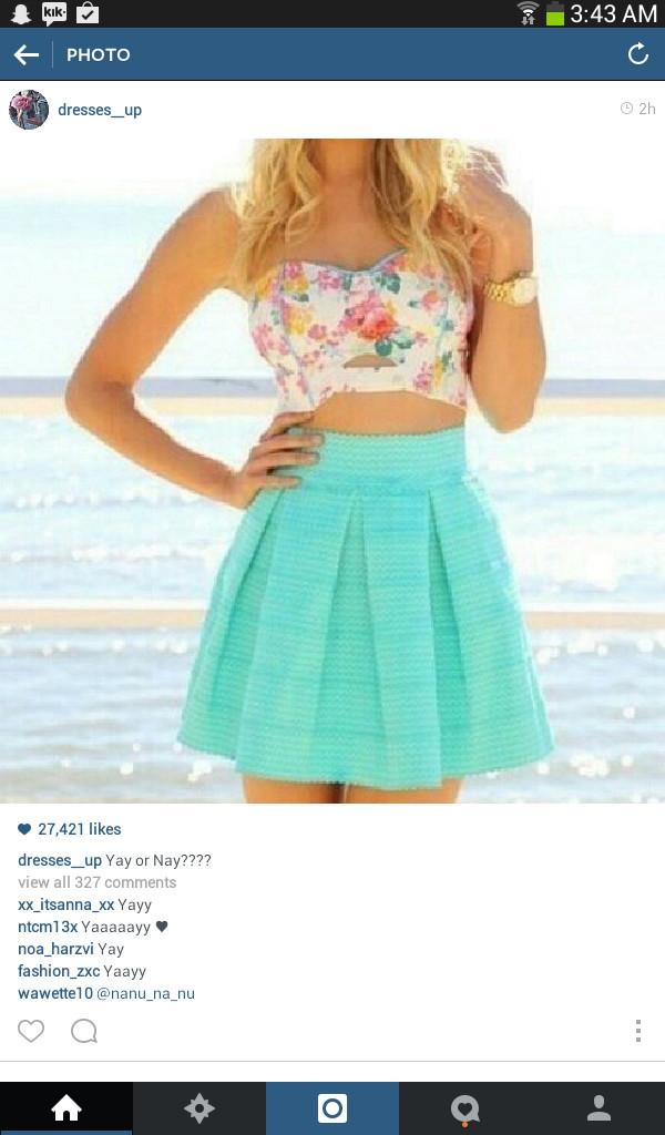 skirt blue cute crop tops bandeu top