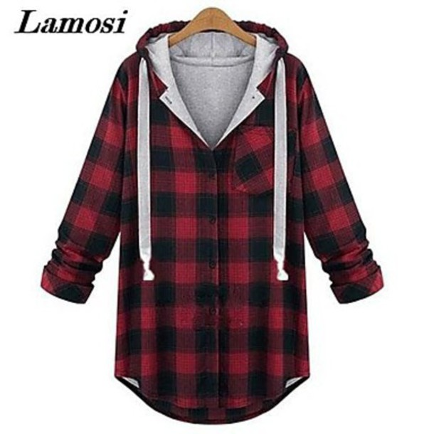 jumpsuit sweatshirt hooded loose loose fit sweater loose tshirt outerwear tartan squares grey red rock grunge warm jacket red plaid shirt hoodie shirt