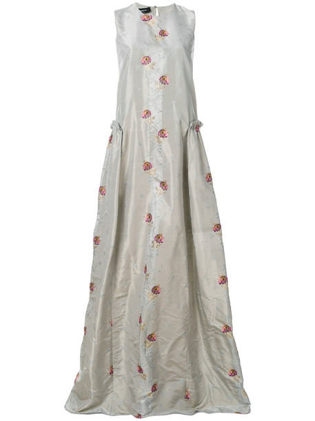 Rochas gown women floral silk grey dress