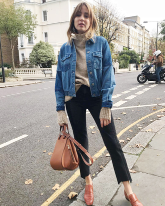 jacket tumblr denim jacket denim blue jacket sweater turtleneck turtleneck sweater jeans black jeans shoes brown shoes bag brown bag