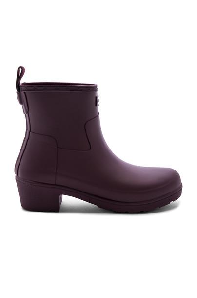 Hunter Refined Low Heel Ankle Matte Boot in purple