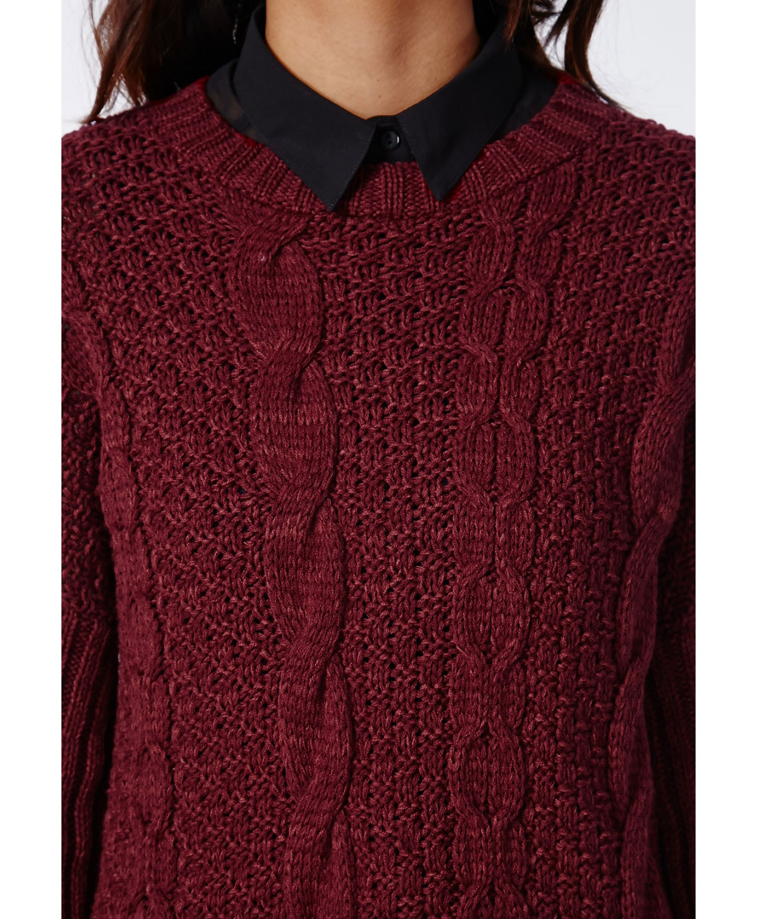 Eulalia cable knit jumper burgundy