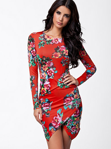 Slinky Bodycon Dress - John Zack - Coral - Party Dresses - Clothing - Women - Nelly.com