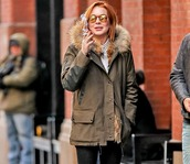 coat,lindsay lohan,army green jacket