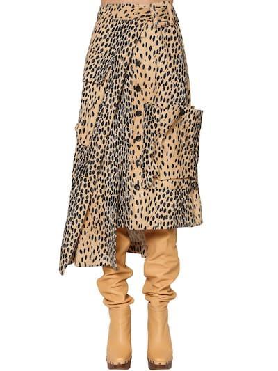 JACQUEMUS Asymmetric Printed Cotton Velvet Skirt Leopard