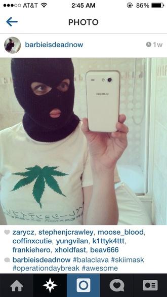 shirt weed skii mask marijuana white shirt chinese letter galaxy s4 halloween accessory