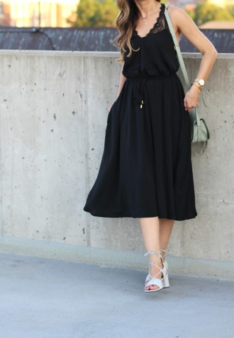 lilly style blogger dress shoes bag hat sunglasses jewels black midi dress black dress midi dress sandals mid heel sandals white sandals lace up sandals shoulder bag grey bag