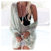 top,oversized sweater,jewels,ring,bracelets,necklace,nail polish,shirt,big comfy,light blue,lightgreen,style,light,cover up,mint,see through,one shoulder,boho chic,blouse,green,possibly free people?,boho,mint shirt,tunic top,tunic dress,boho tunic,flowy,flowy top,flowy blouse,off the shoulder,off the shoulder top,sheer blouse,sheer shirt,summer outfits,summer top,blue shirt,turquoise,sweater