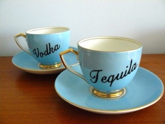 pastel blue bag tea mug vodka tequila gold mug