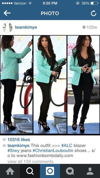 kim kardashian mint blazer