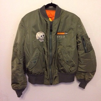 coat skull green jacket