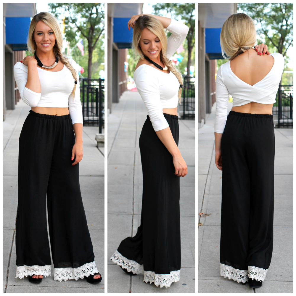 Crochet Boho Print Pants | uoionline.com: Women's Clothing Boutique