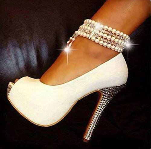 com-product-Elegant-White-Peep-Toe-Pearl-Ankle-Strap-High-Heel ...
