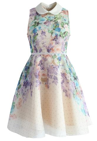 dress romantic garden organza peter pan collar dress chicwish organza dress floral dress summer dress party dress chicwish.com weekend escape