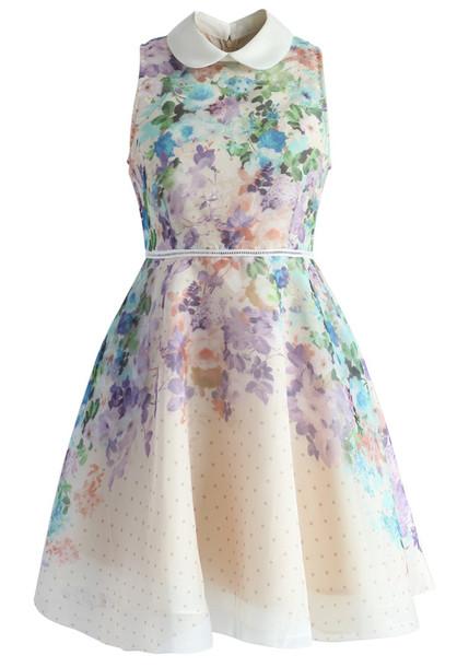 ed156bc889ba dress romantic garden organza peter pan collar dress chicwish organza dress  floral dress summer dress party