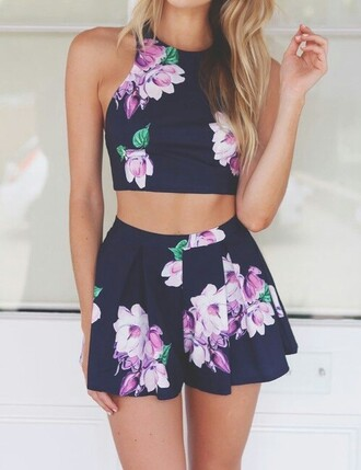 dress navy purple shorts top crop tops party outfits skirt floral flowers mini skirt party party fashion floral top floral skirt flowered shorts matching shorts coords teen figure co-ord matching pieces matching set matching top matching shorts and top one piece