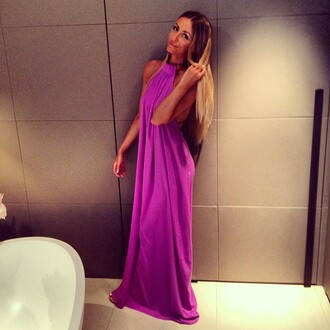 dress sahita purple dress collar maxi dress prom dress backless open back high neck simple dress loose dress purple classic chic