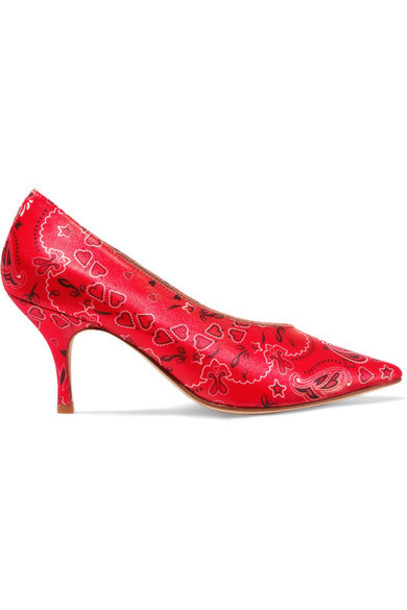 pumps satin red shoes