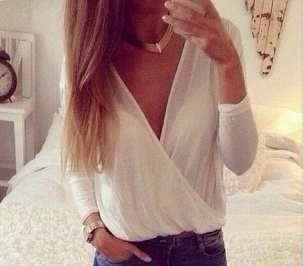 blouse white v neck amazing elegant top sexi loose party office outfits white dress