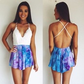 romper,style,fashion,tumblr,white,v neck,criss cross,black,cute,teenagers,print,bikini,black dress,swimwear,watercolor,blue,purple,purple and blue