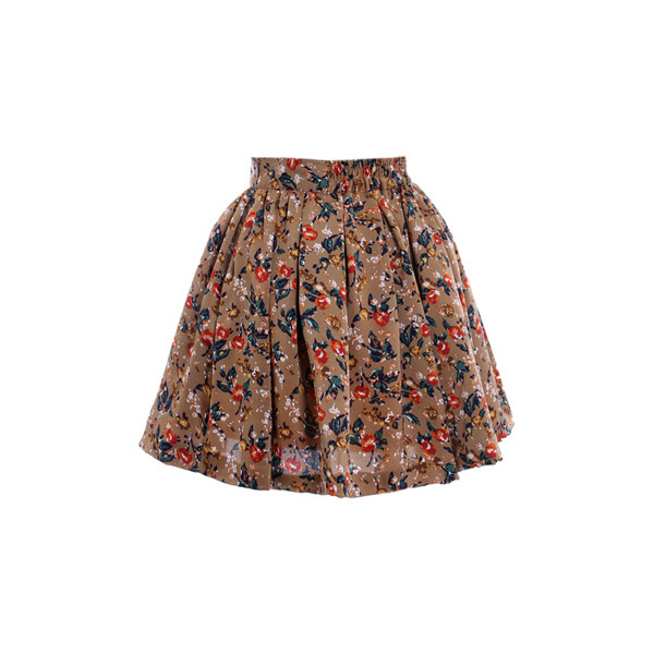 Floral Print Golden Brown Skirt( Halloween sale on 10.26 ) - Polyvore