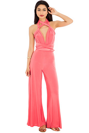 Multi Tie Deep V Jump Suit