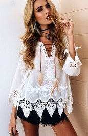 top,white,lace,notched,embroidered,crochet,crochet top,lace shirt,long sleeves,white lace,white lace shirt,lace up,lace up shirt,white blouse,lace blouse,sexy,casual,casual top,women casual,summer,beach,jeans top,loose,cute,cute top,lace top,beach top,summer season,holiday season,streetwear,stretstyle,moraki