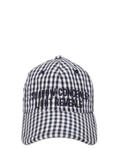 baseball,embroidered,hat,baseball hat,gingham,navy