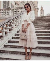 dress,bodysuit,white dress,white,white top,white shirt,white crop tops,crop tops,shirt,long sleeves,puffed sleeves,skirt,midi skirt,midi dress,tulle skirt,tulle dress,summer,spring,spring outfits,summer outfits,shiny,nude,nude skirt,light pink,v neck,long sleeve dress,long sleeve crop top,elegant,pretty
