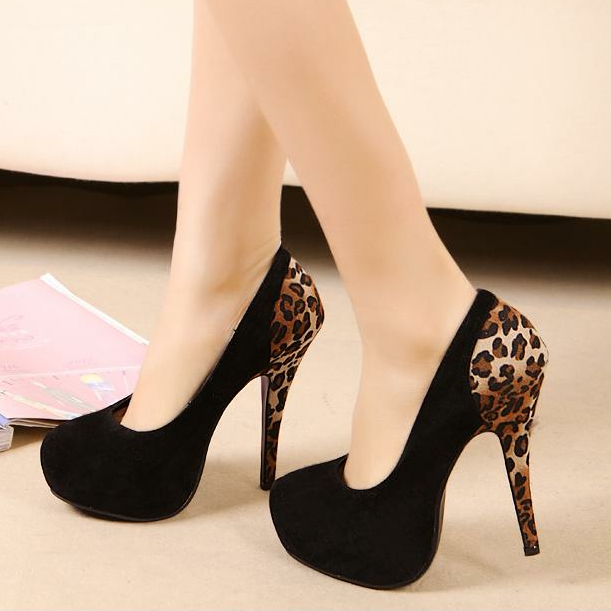 35 40 size New sexy Women Pumps 14CM Leopard High Heel Platform Shallow Round Toe High heeled Women Single Women Party Shoes-inPumps from Shoes on Aliexpress.com