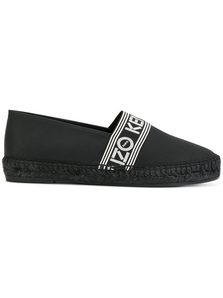Kenzo women espadrilles leather black shoes