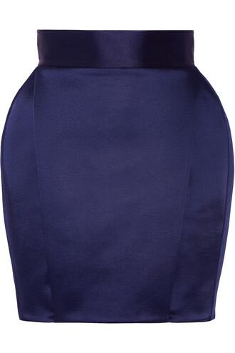 skirt mini skirt mini pleated satin navy