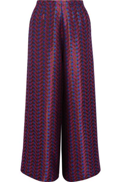 ETRO pants wide-leg pants metallic jacquard pink