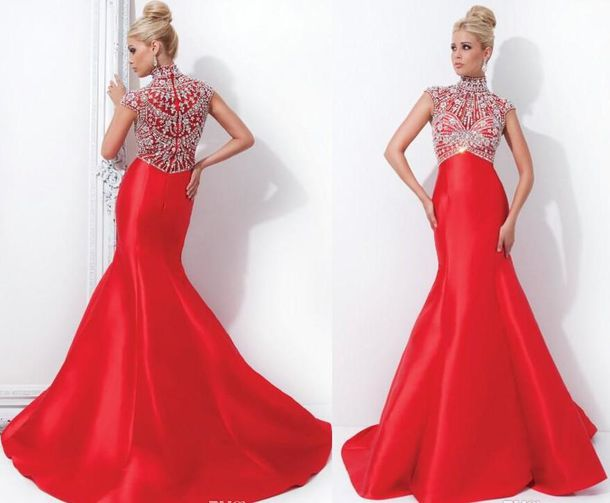 Dress: arabic, 2015 evening dresses, mermaid prom dress, crystal ...