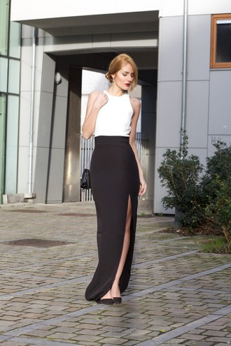 from brussels with love blogger slit dress black and white dress