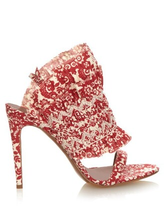 sandals floral print red shoes