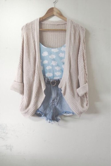 taupe sweater cardigan jeanshorts cloud top cute shirt