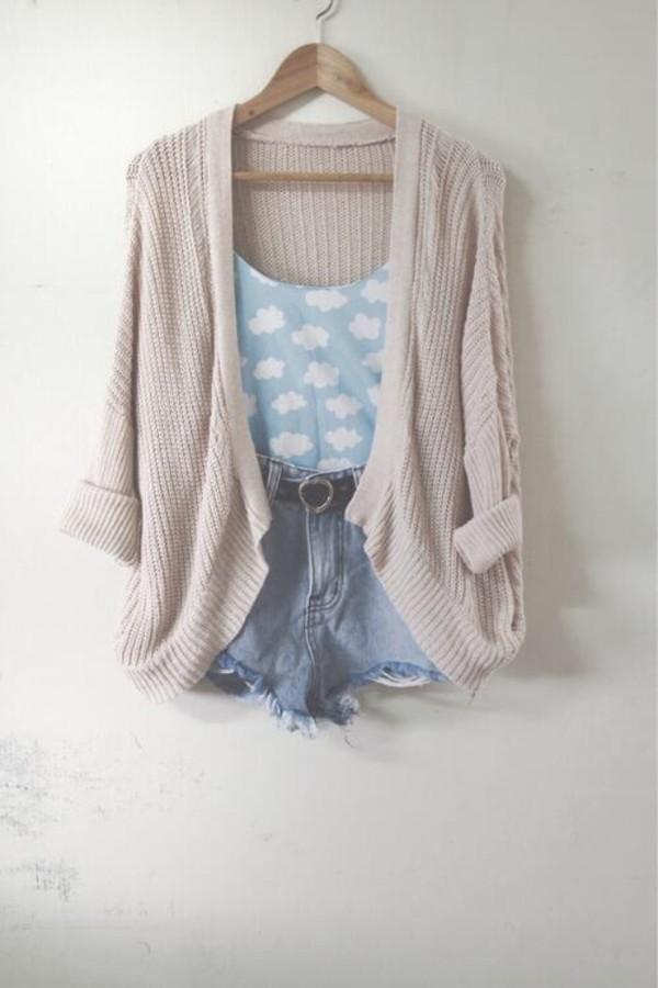 shirt sweater taupe cardigan denim shorts cloud top cute