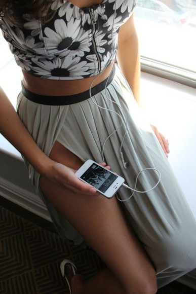 headphones skirt shirt floral tan gray skirt ipod high heels maxi skirt floral top