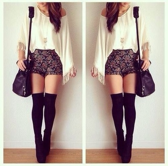 long sleeves high waisted shorts black bag knee high socks