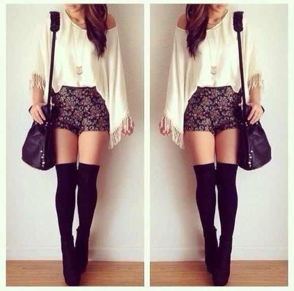 cute hair shorts black white style blouse weheartit girly outfit fashion floral thigh highs hotpants shirt shoes underwear bag