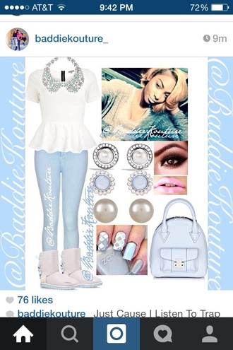 top icy ice white icy blue cute ootd polyvore outfit polyvore wardrobe icy diamond jewels uggs baily bow baby blue heart eyes peter pan collar winter outfits couture shoes bag